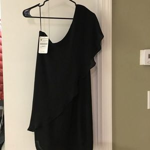 NWT Zara one shoulder black dress